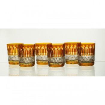 Szklanki kryształowe do whisky - 6szt - żółte