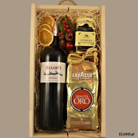 Zestaw świąteczny z winem czerwonym
