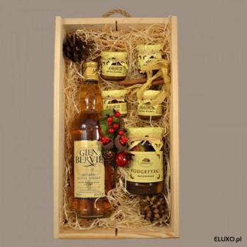 Zestaw upominkowy świąteczny z whisky i delikatesami