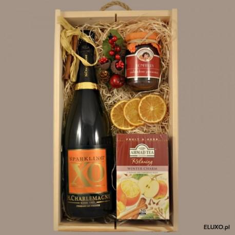 Zestaw upominkowy świąteczny z winem musującym