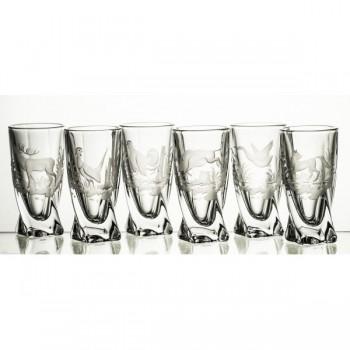 Kryształowe kieliszki do wódki - 6szt - myśliwskie