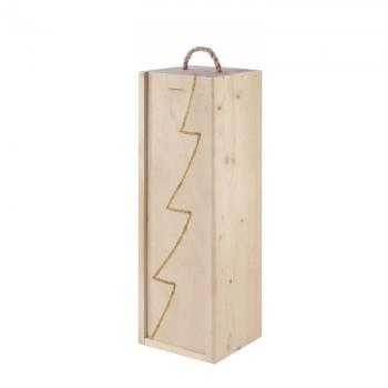 Drewniana skrzynka na 1 butelkeę z dekorem choinka