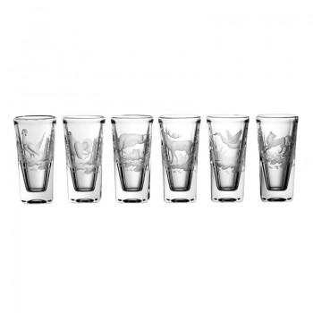 Kieliszki kryształowe do wódki - 6szt - myśliwskie