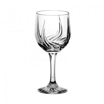 Kieliszki kryształowe do wina goblet - 6szt - szlif cebulka