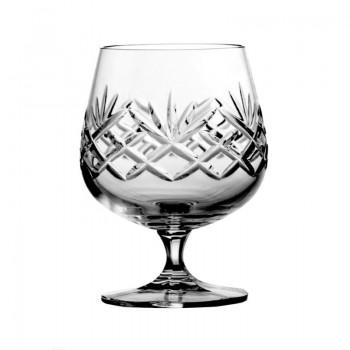 Kryształowe kieliszki do koniaku - 6szt - szlif kratka