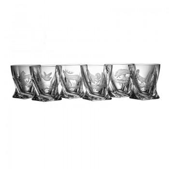 Kryształowe szklanki do whisky - 6szt - myśliwskie