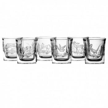 Szklanki kryształowe do whisky - 6szt - myśliwskie