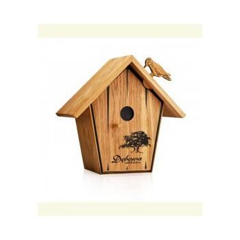 Dębowa Budka Dla Ptaków + 4 kieliszki