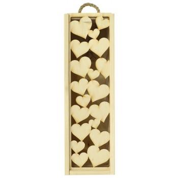 Drewniana skrzynka na 1 butelkę - serca