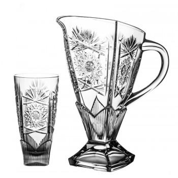 Dzbanek i 6 sztuk szklanek kryształowych