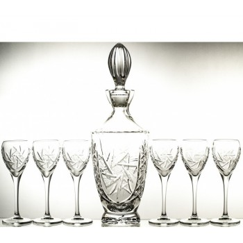 Karafka i 6 sztuk kieliszków do sherry kryształowe