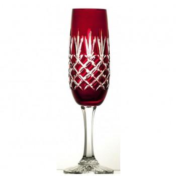 Kieliszki kolorowe do szampana- rubinowe