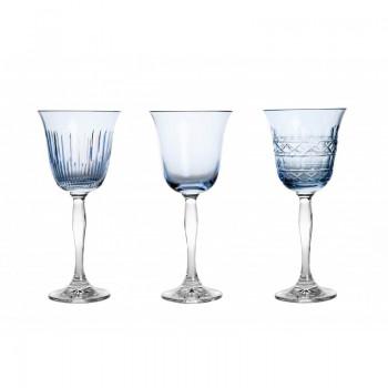 Błękitne kieliszki do wina 3 sztuki