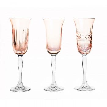 Pudrowe kieliszki do szampana 3 sztuki